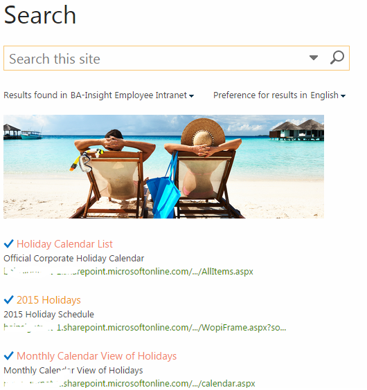 sharepoint search creating visual best bets and recommended results